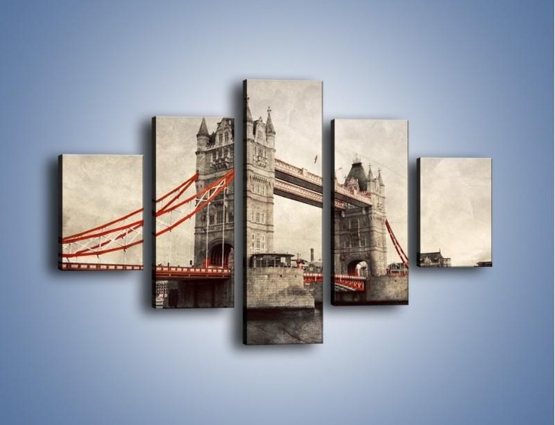 Obraz na płótnie – Tower Bridge w stylu vintage – pięcioczęściowy AM668W1