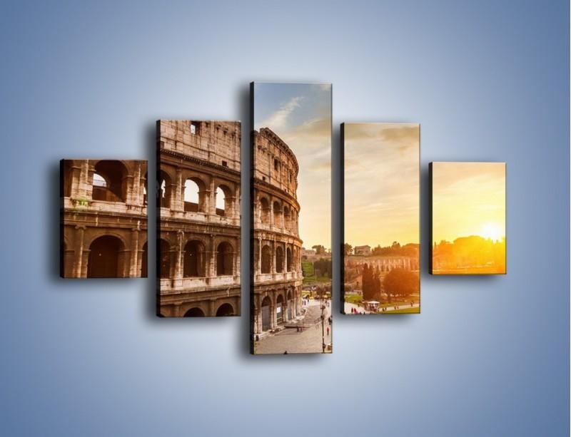 Obraz na płótnie – Rzymskie Koloseum o zachodzie słońca – pięcioczęściowy AM684W1