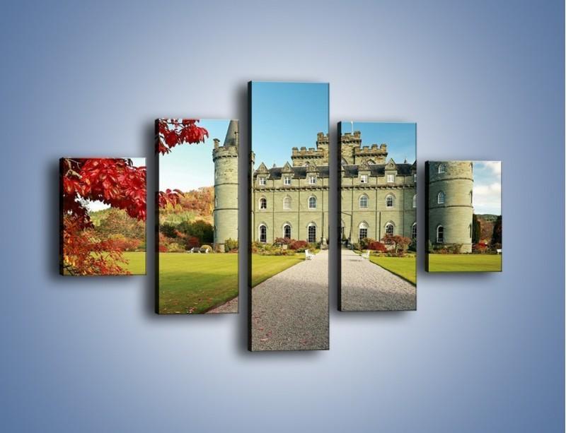 Obraz na płótnie – Zamek Inveraray w Szkocji – pięcioczęściowy AM691W1