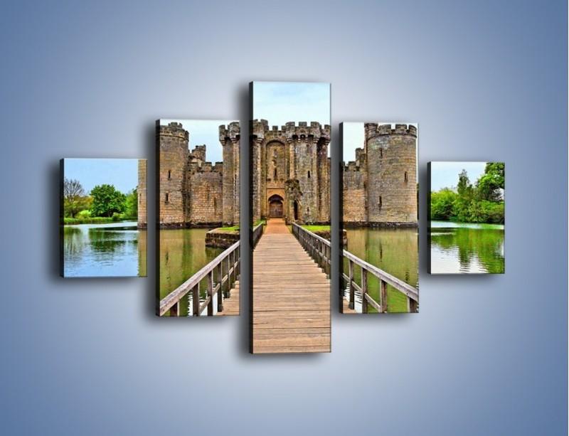 Obraz na płótnie – Zamek Bodiam w Wielkiej Brytanii – pięcioczęściowy AM692W1