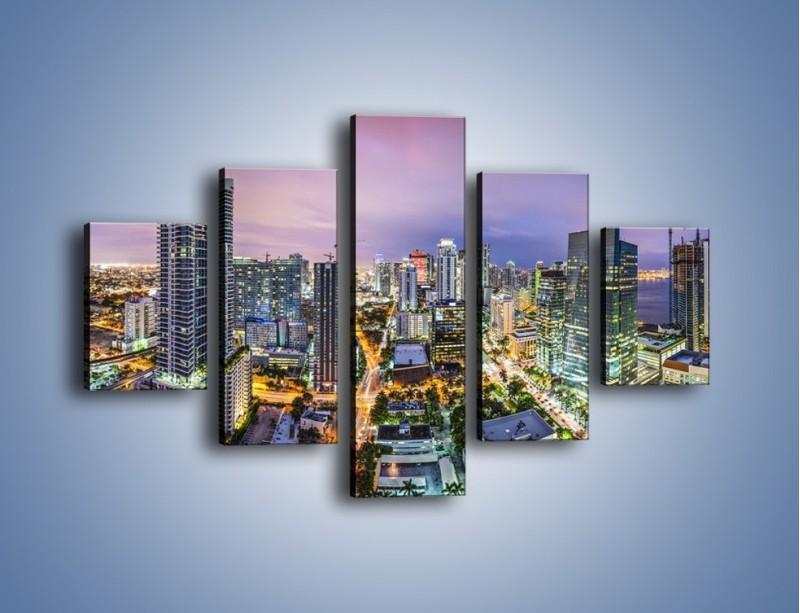 Obraz na płótnie – Centrum Miami – pięcioczęściowy AM702W1