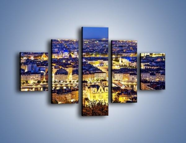 Obraz na płótnie – Nocna panorama Lyonu – pięcioczęściowy AM707W1