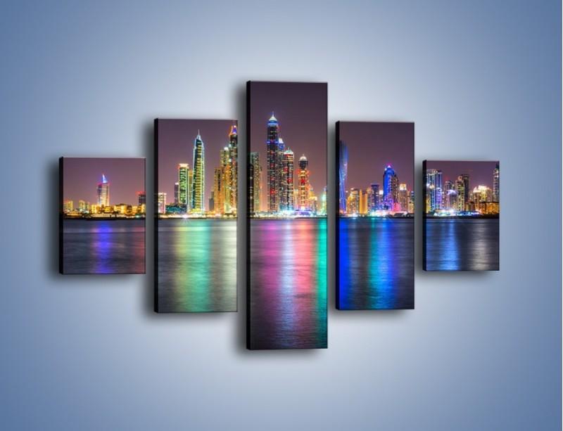 Obraz na płótnie – Kolorowe drapacze chmur w Dubaju – pięcioczęściowy AM724W1