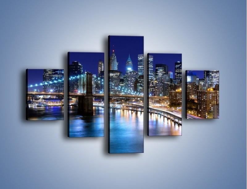 Obraz na płótnie – Nocne światła Nowego Yorku – pięcioczęściowy AM726W1