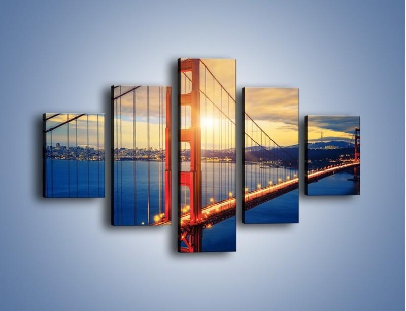 Obraz na płótnie – Zachód słońca nad Mostem Golden Gate – pięcioczęściowy AM738W1