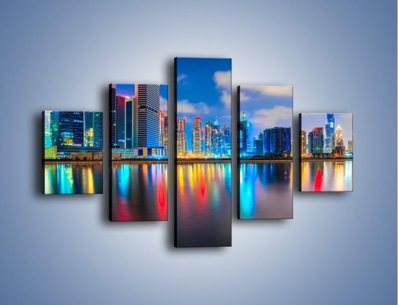 Obraz na płótnie – Kolory Dubaju odbite w wodzie – pięcioczęściowy AM740W1