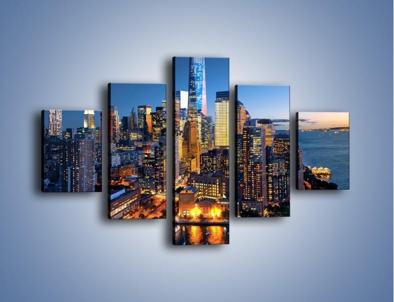 Obraz na płótnie – Zmierzch nad Manhattanem – pięcioczęściowy AM749W1