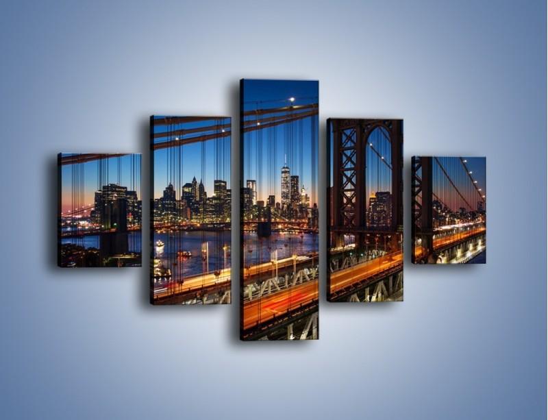 Obraz na płótnie – Nowojorskie mosty na tle Manhattanu – pięcioczęściowy AM751W1
