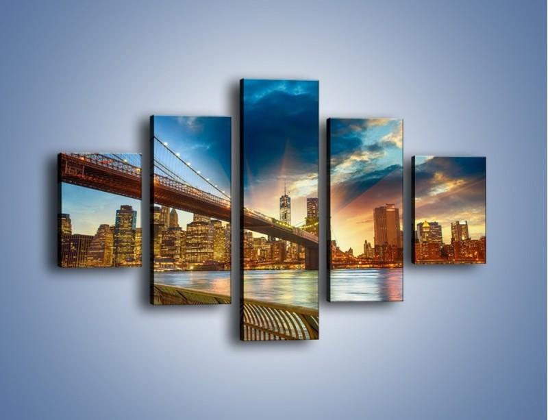Obraz na płótnie – Most w Nowym Jorku o zmierzchu – pięcioczęściowy AM754W1