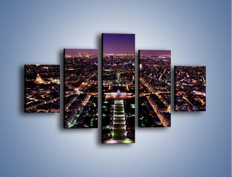 Obraz na płótnie – Panorama Paryża z Wieży Eiffla – pięcioczęściowy AM764W1