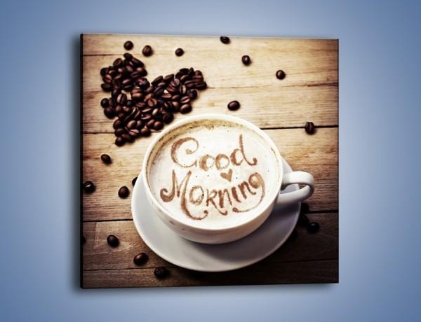 Obraz na płótnie – Poranek koniecznie z kawą – jednoczęściowy kwadratowy JN553