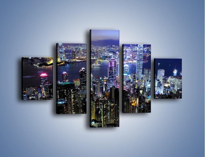 Obraz na płótnie – Nocna panorama Hong Kongu – pięcioczęściowy AM772W1