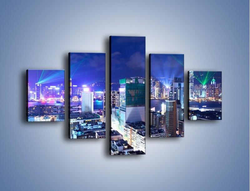 Obraz na płótnie – Pokaz laserów nad Hong Kongiem – pięcioczęściowy AM796W1