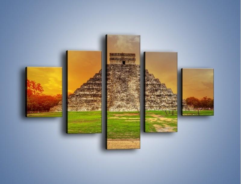 Obraz na płótnie – Piramida Kukulkana w Meksyku – pięcioczęściowy AM814W1