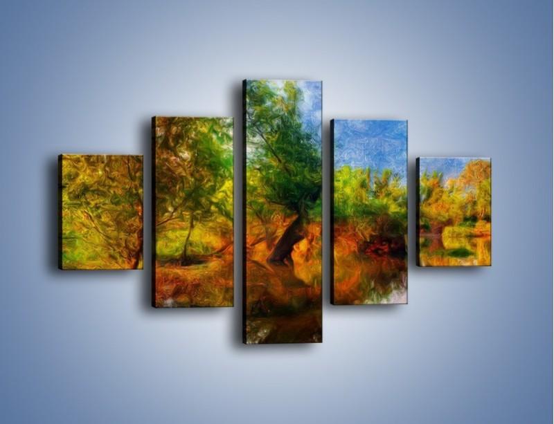 Obraz na płótnie – Drzewa w wodnym lustrze – pięcioczęściowy GR010W1