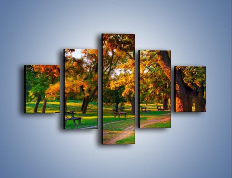 Obraz na płótnie – Ławeczka w parku – pięcioczęściowy GR011W1
