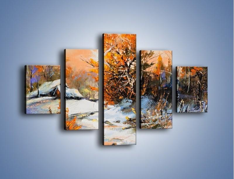 Obraz na płótnie – Zimowy klimat na wsi – pięcioczęściowy GR027W1