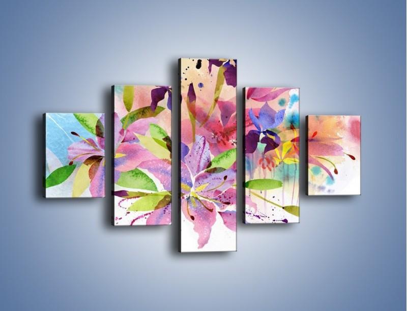 Obraz na płótnie – Kolory zachowane w kwiatach – pięcioczęściowy GR043W1
