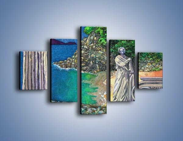 Obraz na płótnie – Marmurowe rzeźby z widokiem na wodę – pięcioczęściowy GR048W1