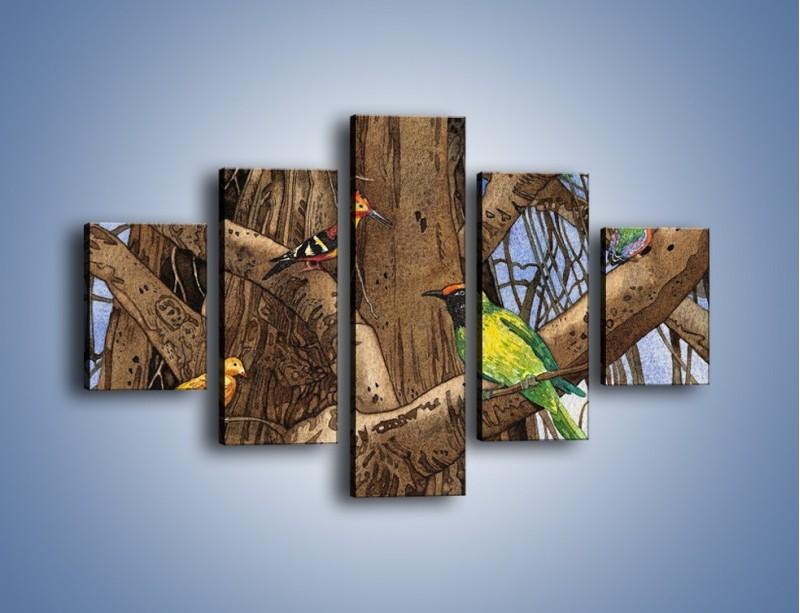 Obraz na płótnie – Mali przyjaciele na drzewie – pięcioczęściowy GR050W1