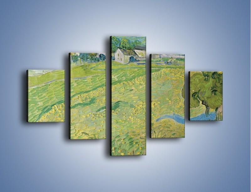 Obraz na płótnie – Łąka i małe domki – pięcioczęściowy GR105W1