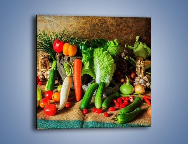 Obraz na płótnie – Warzywa na jednej nodze – jednoczęściowy kwadratowy JN558