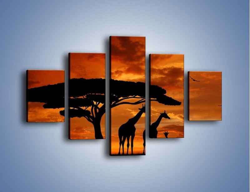 Obraz na płótnie – Żyrafy wieczorową porą – pięcioczęściowy GR266W1