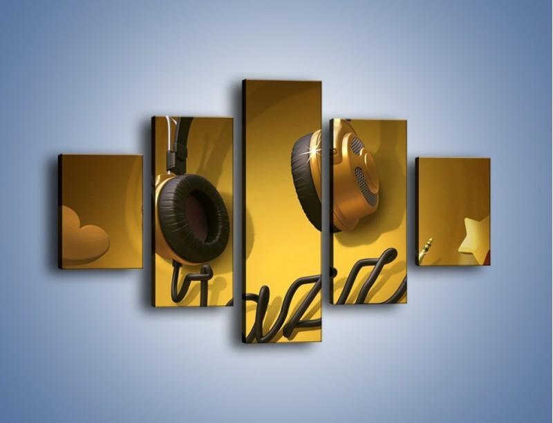 Obraz na płótnie – Złote nuty jazzu – pięcioczęściowy GR305W1