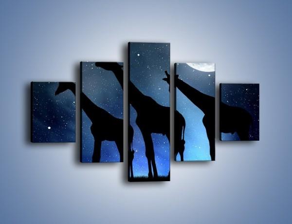 Obraz na płótnie – Żyrafie trio nocą – pięcioczęściowy GR316W1