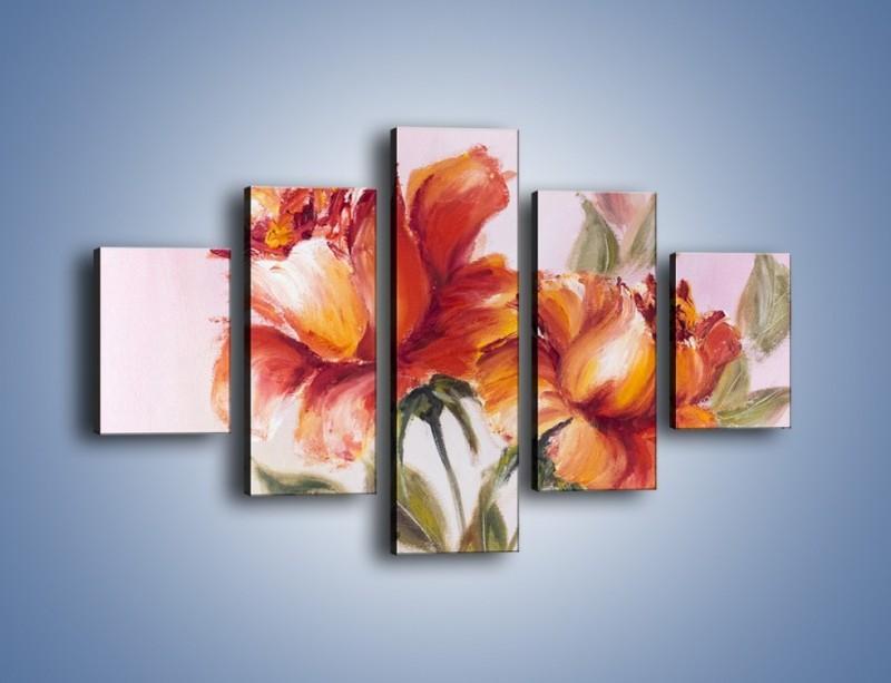 Obraz na płótnie – Kwiaty na płótnie malowane – pięcioczęściowy GR322W1