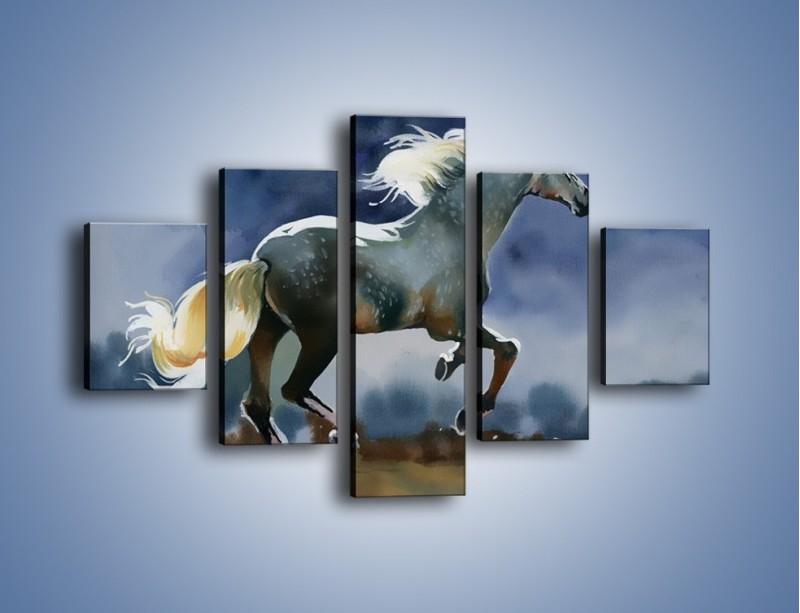 Obraz na płótnie – Bieg z koniem przez noc – pięcioczęściowy GR339W1