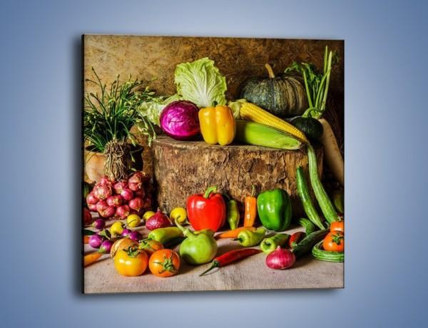 Obraz na płótnie – Warzywa rozrzucone na drzewie – jednoczęściowy kwadratowy JN560