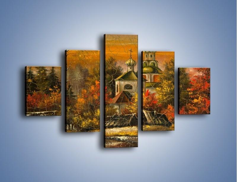 Obraz na płótnie – Kaplica późną jesienią – pięcioczęściowy GR369W1