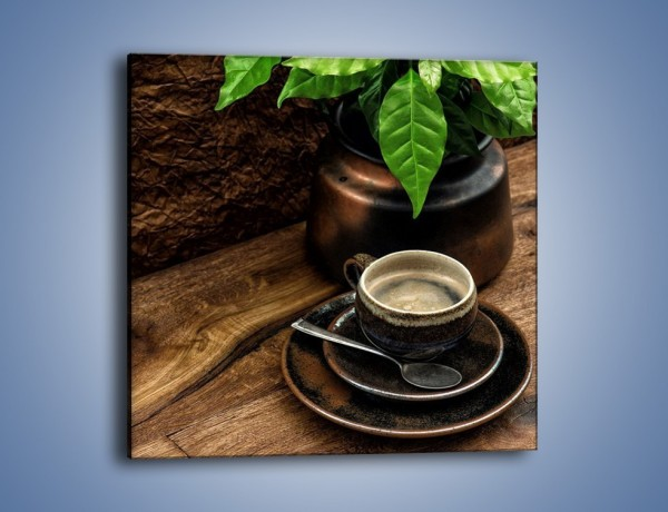 Obraz na płótnie – Kawa pod zielonym liściem – jednoczęściowy kwadratowy JN561