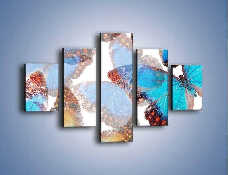 Obraz na płótnie – Motyl w niebieskim kolorze – pięcioczęściowy GR403W1