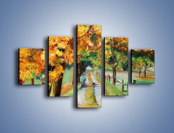 Obraz na płótnie – Aleją wśród drzew – pięcioczęściowy GR487W1