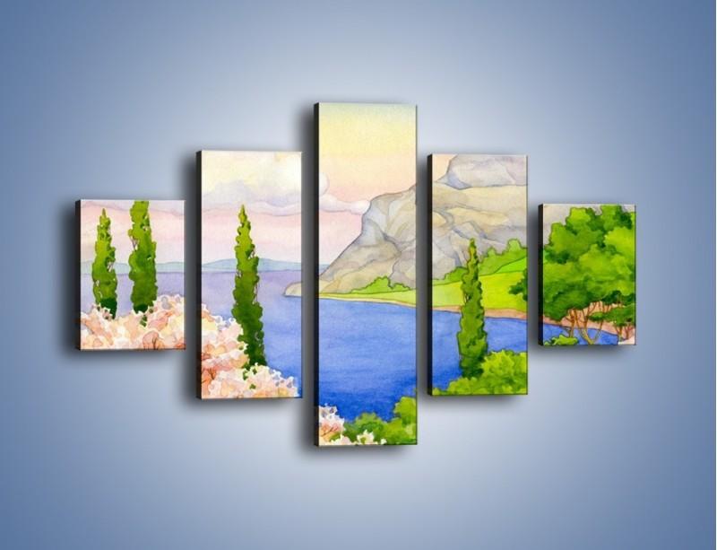 Obraz na płótnie – Krajobraz jak z pocztówki – pięcioczęściowy GR541W1