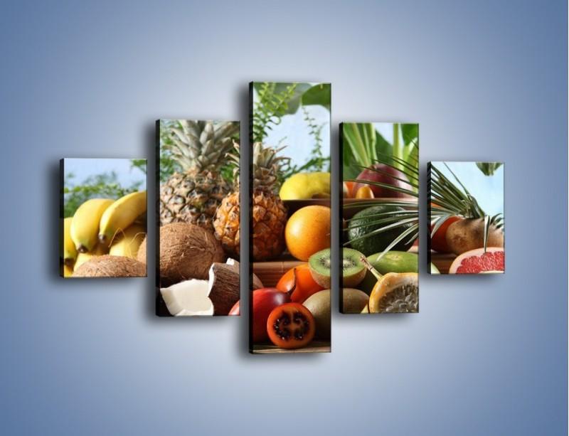 Obraz na płótnie – Mix owocowy na drewnianym stole – pięcioczęściowy JN009W1