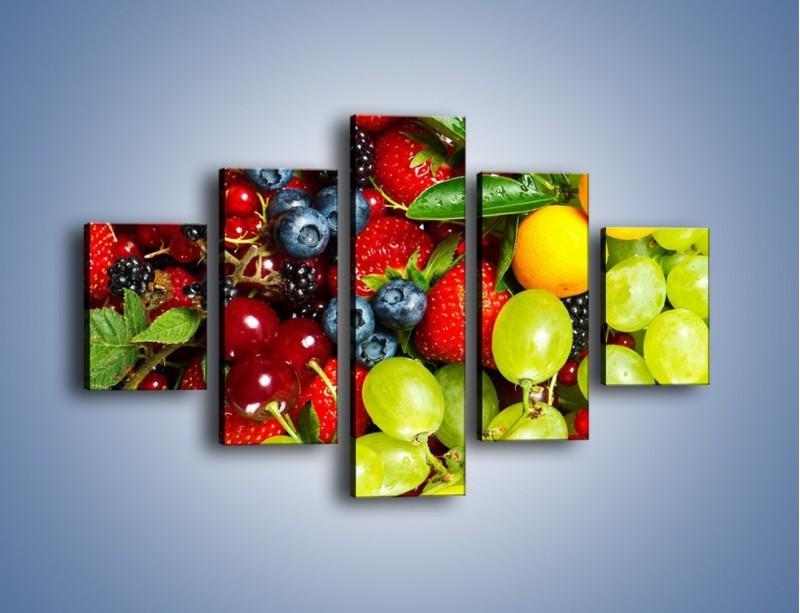 Obraz na płótnie – Wymieszane kolorowe owoce – pięcioczęściowy JN037W1