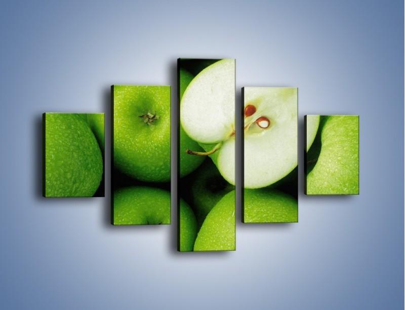Obraz na płótnie – Zielone jabłuszka – pięcioczęściowy JN039W1