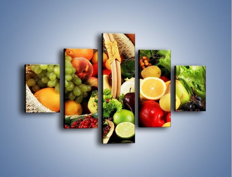 Obraz na płótnie – Kosz pełen owocowo-warzywnego zdrowia – pięcioczęściowy JN059W1