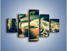 Obraz na płótnie – Czarna kawa arabica – pięcioczęściowy JN064W1