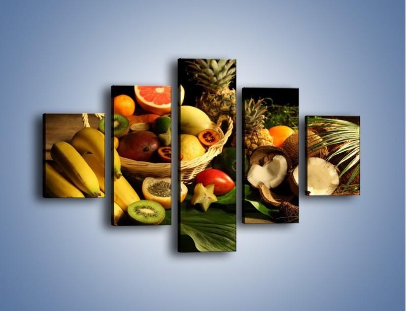 Obraz na płótnie – Kosz egzotycznych owoców – pięcioczęściowy JN074W1