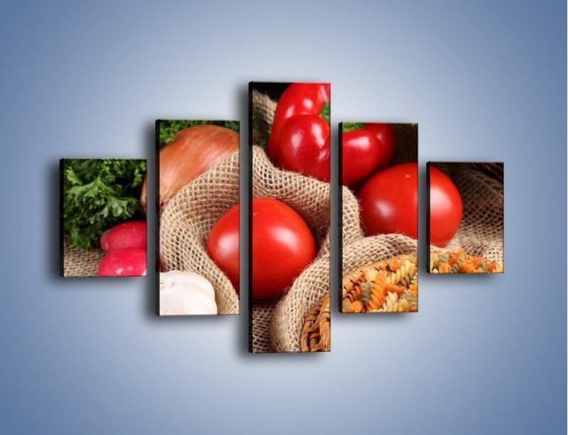 Obraz na płótnie – Makaron z warzywami – pięcioczęściowy JN076W1