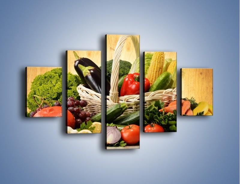 Obraz na płótnie – Kosz pełen warzywnych witamin – pięcioczęściowy JN081W1
