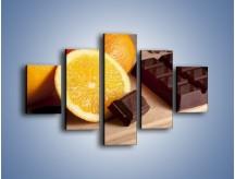 Obraz na płótnie – Czekoladowo-pomarańczowa rozkosz – pięcioczęściowy JN094W1