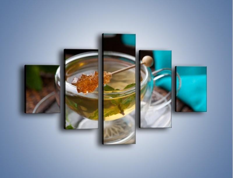 Obraz na płótnie – Oczyszczająca zielona herbata – pięcioczęściowy JN104W1
