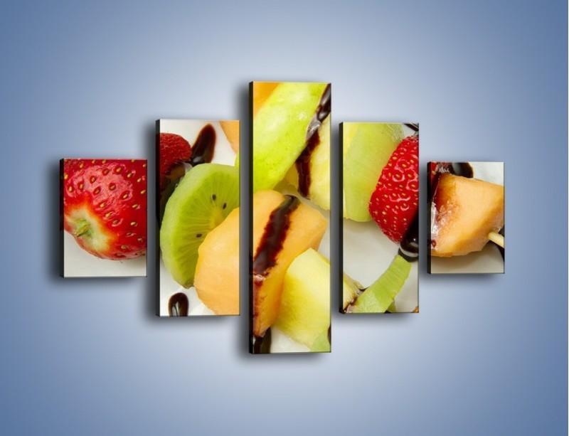 Obraz na płótnie – Czekoladowo-owocowe szaszłyki – pięcioczęściowy JN112W1
