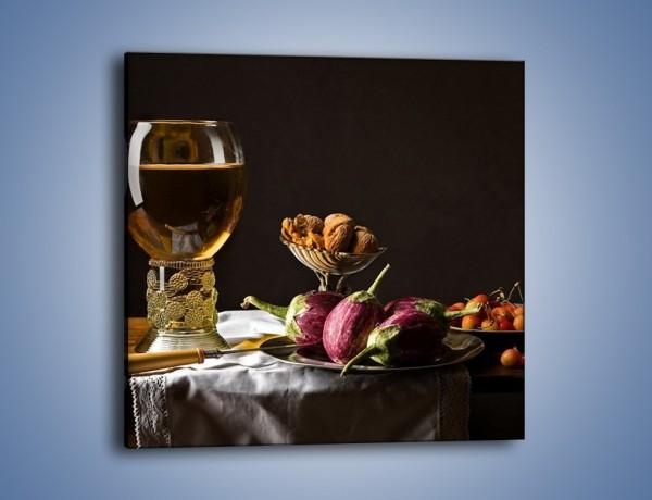 Obraz na płótnie – Świeży sok wśród talerzy – jednoczęściowy kwadratowy JN569