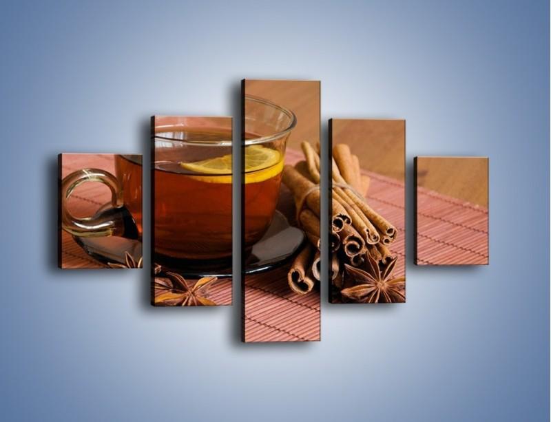 Obraz na płótnie – Rozgrzewająca filiżanka herbaty – pięcioczęściowy JN266W1